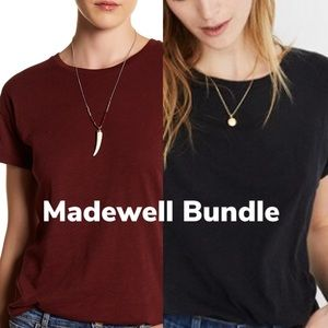 Madewell Bundle: Whisper Cotton Tee - Black, Red